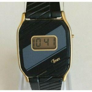 Vintage Timex TCell Ladies Watch Black Grey Stripe